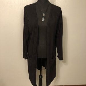 Black Cardigan **FREE NECKLACE INCLUDED**